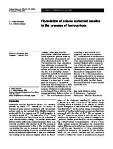 Flocculation of anionic surfactant micelles in the ... - Springer Link