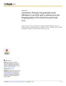 Floristic characteristics and affinities in Lao PDR