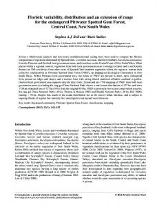 Floristic variability, distribution and an extension of range for the ...