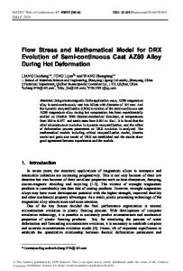 Flow Stress and Mathematical Model for DRX Evolution of Semi ...