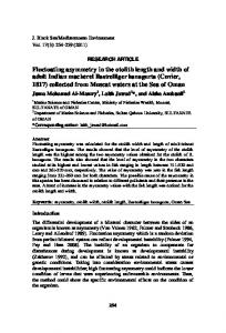 Fluctuating asymmetry in the otolith length and width of adult Indian ...