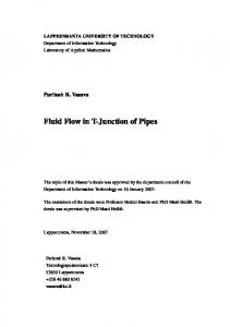 Fluid Flow in T-Junction of Pipes