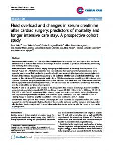 Fluid overload and changes in serum creatinine after cardiac surgery ...