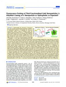 Fluorescence Probing of Thiol-Functionalized Gold Nanoparticles: Is ...