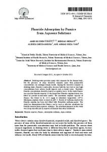 Fluoride Adsorption by Pumice from Aqueous Solutions - Downloads