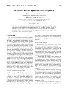 Fluoride Glasses: Synthesis and Properties