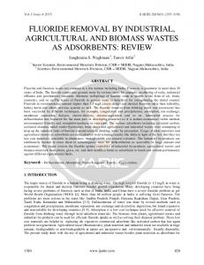 fluoride removal by industrial, agricultural and biomass wastes ... - ijariie