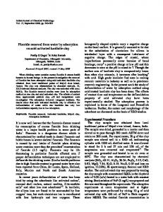 Fluoride removal from water by adsorption on acid ... - Semantic Scholar