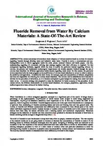 Fluoride Removal from Water By Calcium Materials: A State ... - IJIRSET