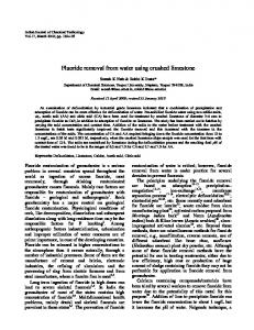 Fluoride removal from water using crushed limestone - Semantic Scholar