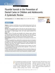 Fluoride Varnish in the Prevention of Dental Caries in Children and ...