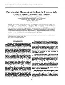 Fluorophosphate Glasses Activated by Rare Earth Ions and AgBr