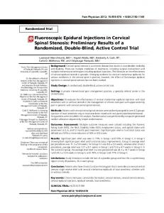 Fluoroscopic Epidural Injections in Cervical Spinal ... - Semantic Scholar