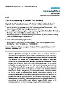Flux-P: Automating Metabolic Flux Analysis - MDPI