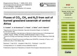 Fluxes of CO2, CH4 and N2O from savannah