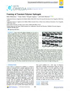 Foaming of Transient Polymer Hydrogels - ACS Publications