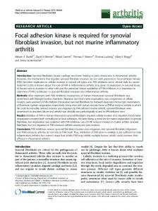 Focal adhesion kinase is required for synovial fibroblast invasion, but ...
