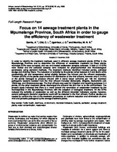 Focus on 14 sewage treatment plants in the ... - Academic Journals