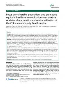 Focus on vulnerable populations and promoting equity in health ...