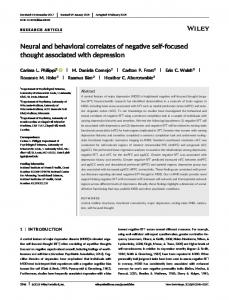 focused thought associated with depression - University of Missouri-St