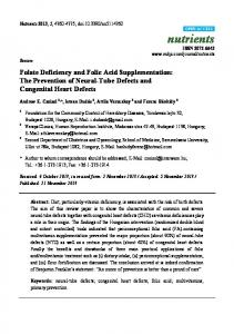Folate Deficiency and Folic Acid Supplementation - BioMedSearch