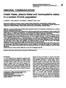 Folate intake, plasma folate and homocysteine status in a random ...