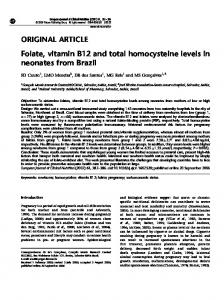 Folate, vitamin B12 and total homocysteine levels ... - Semantic Scholar