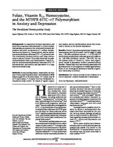 Folate, Vitamin B12, Homocysteine, and the MTHFR 677C→T ...