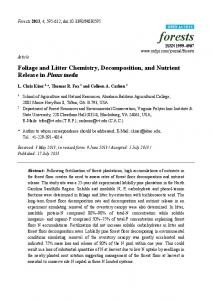 Foliage and Litter Chemistry, Decomposition, and Nutrient ... - MDPI