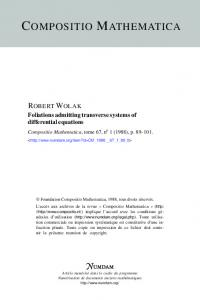 Foliations admitting transverse systems of differential ... - Numdam