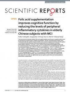 Folic acid supplementation improves cognitive ... - Semantic Scholar