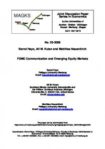FOMC Communication and Emerging Equity Markets