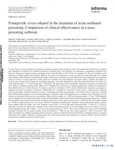 Fomepizole versus ethanol in the treatment of acute methanol poisoning