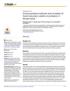 Food acquisition methods and correlates of food insecurity in ... - PLOS