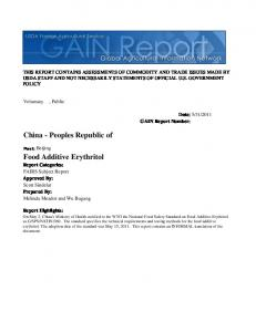 Food Additive Erythritol China - Peoples Republic of