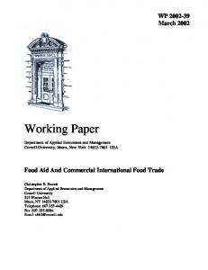 Food Aid And Commercial International Food Trade - Cornell University