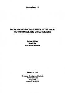 Food Aid and Food Security in the 1990s - CiteSeerX