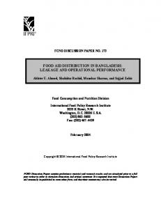 Food Aid Distribution in Bangladesh: Leakage and ... - AgEcon Search