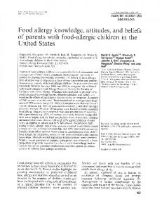 Food allergy knowledge, attitudes, and beliefs of parents With food ...