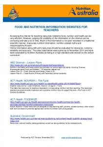 food and nutrition information websites for ... - Nutrition Australia