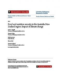 Food and nutrition security in the Australia-New ... - Research Online