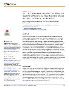 Food and water restriction lead to differential learning ... - PLOS