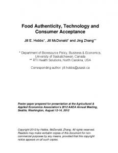 Food Authenticity, Technology and Consumer ... - AgEcon Search