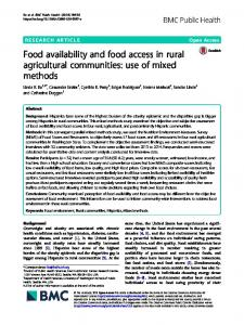 Food availability and food access in rural ... - BMC Public Health