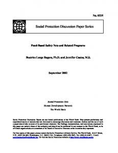 Food-Based Safety Nets and Related Programs