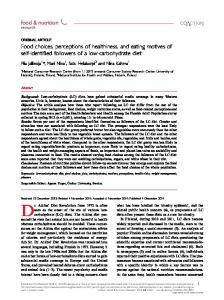 Food choices, perceptions of healthiness, and eating motives of self ...