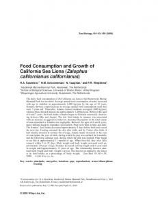 Food consumption and growth of California sea lions - Mediate.com