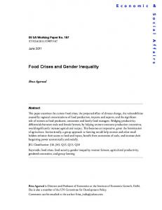 Food Crises and Gender Inequality - the United Nations