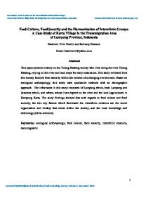 Food Culture, Food Security and the Harmonization of Interethnic ...