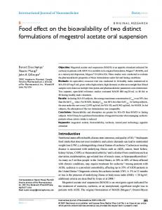 Food effect on the bioavailability of two distinct ... - Semantic Scholar